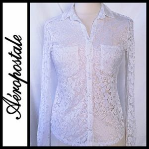 White Lace Sheer Button-down Top